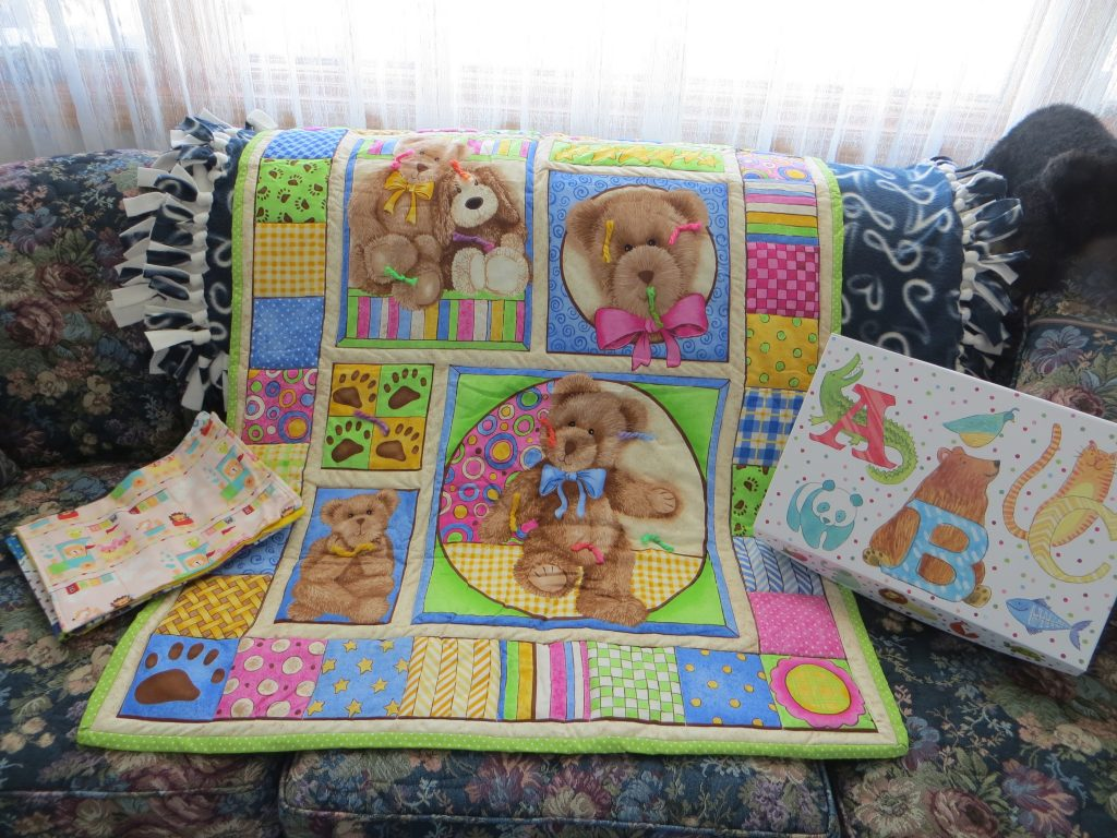 Handmade Baby Quilt & Burp Cloths in Decorative Box by Peg Longhenry
