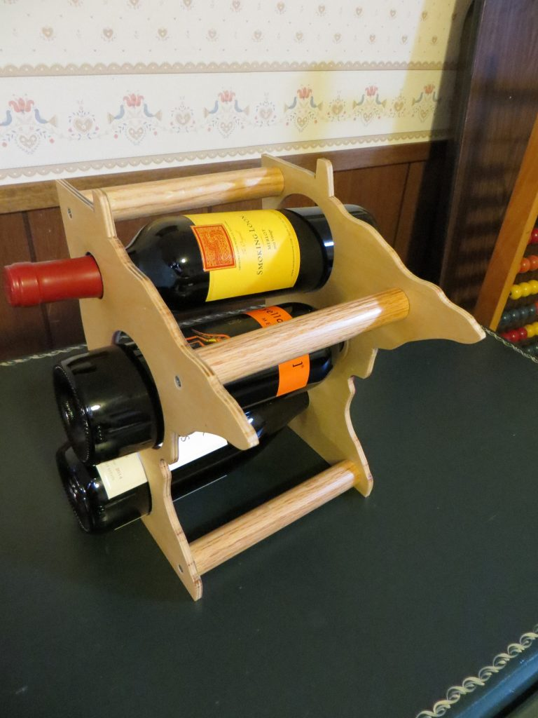 Minnesota Wine Rack With 3 Bottles of Wine